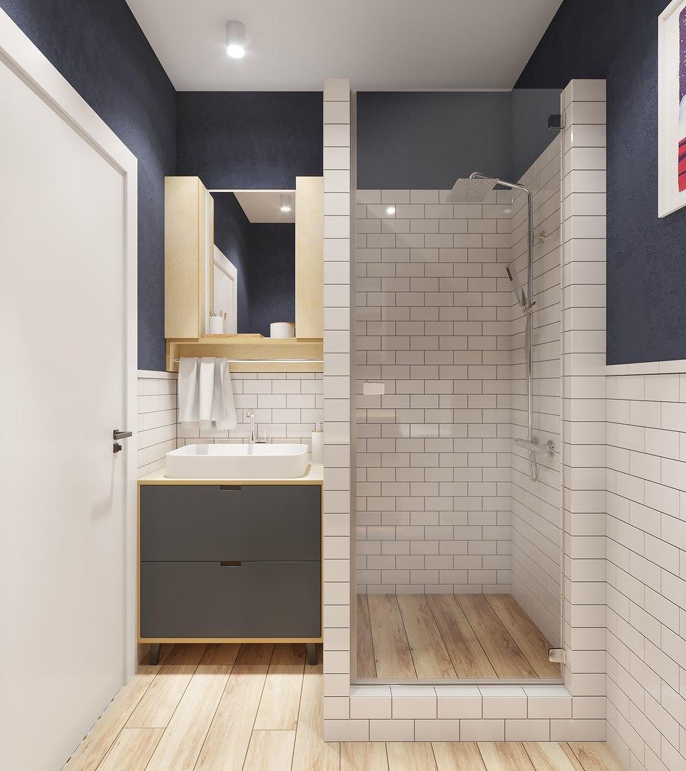 Проект квартиры-студии площадью 38 кв.