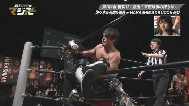 Daisuke Sasaki, Soma Takao, Tetsuya Endo vs. KUDO, Masahiro Takanashi, HARASHIMA (DDT Live! Maji Manji 8)