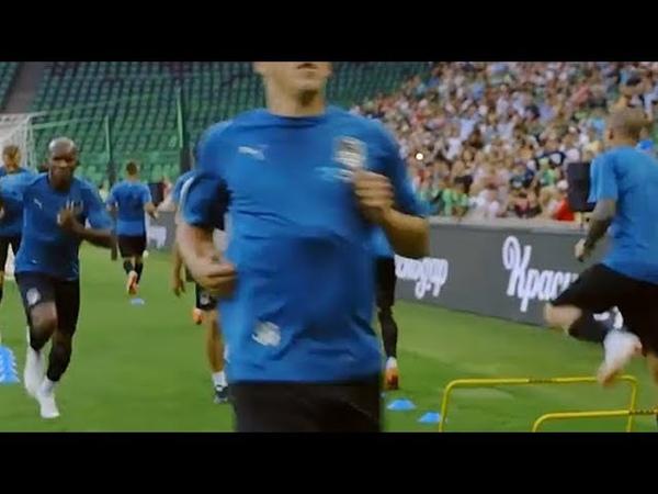 Футбольный клуб Краснодар провел открытую тренировку перед матчем с казанским Рубином