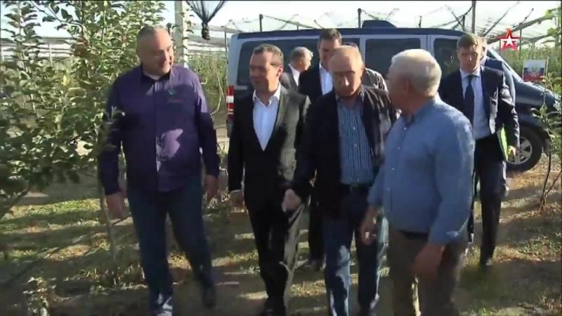 Владимир Путин и Дмитрий Медведев посетили сельхозпредприятие в Ставропольском крае.