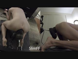 Very hard deep machine fuck and cum