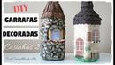 DIY GARRAFAS DECORADAS CASINHAS 2 - Artesanato do Compartilhando Arte - Do lixo ao Luxo
