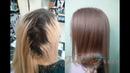 Осветление волос 5 уровня глубины тона и тонирование в блонд с розовинкой