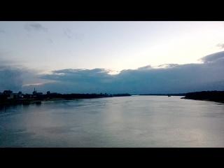 На мосту через Волгу Вечер Панорама Рыбинска
