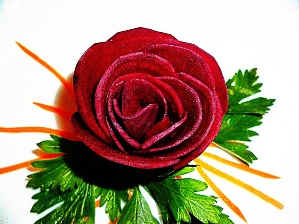 Розы из свеклы! Rose of beet! Украшения из овощей! Decoration of vegetables!