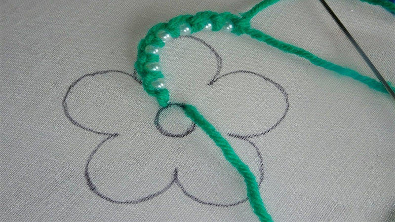 Hand embroidery: beaded embroidery flower  fantasy flower embroidery