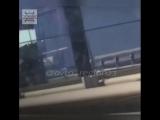 Выяснение отношений дальнобойщиков с травматическим пистолетом на трассе М-4