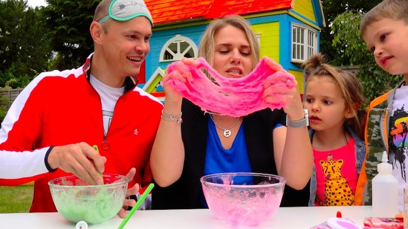 Три ЦВЕТА лизун челлендж РОДИТЕЛИ все смогут... 3 colors SLIME challenge PARENTS edition