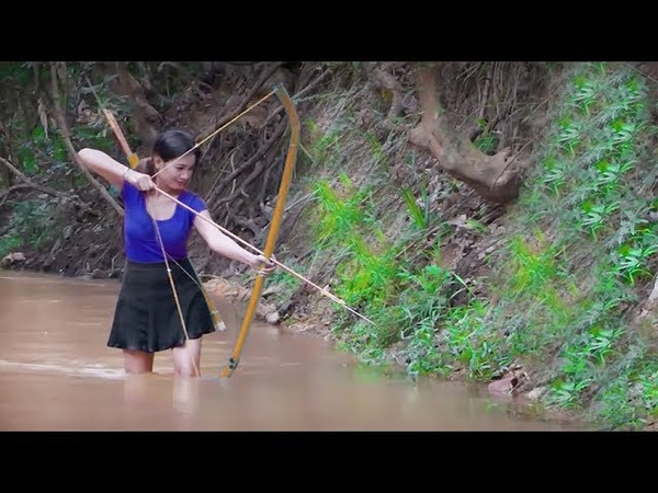農村姑娘教你DIY造弓箭捉魚