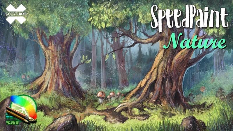 SpeedPaint (SAI) Как нарисовать лес / How to draw a forest