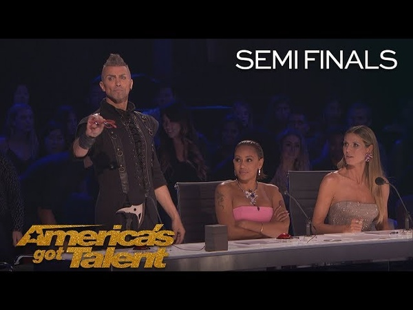 Aaron Crow Howie Mandel Nearly Escapes Dangerous Performance - Americas Got Talent 2018