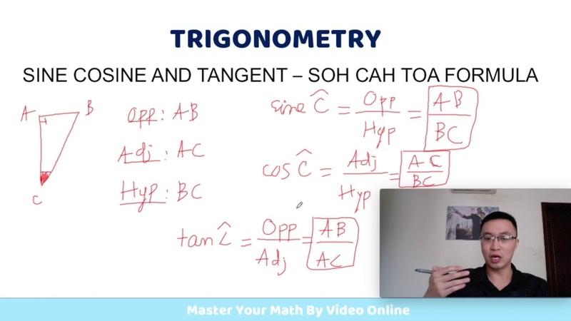 Toán IGCSE Cambridge Công thức sin cosine tan trong tam giác vuông
