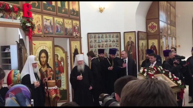 Патриарх Кирилл, Владимир Мединский, Андрей Воробьёв в храмовом комплексе в селе Гагино