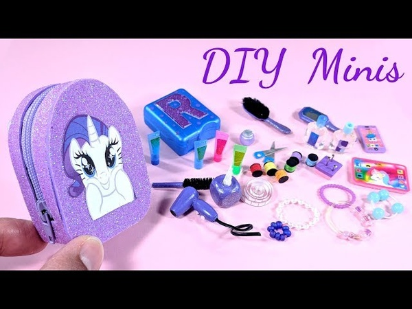 DIY My Little Pony Miniatures - Zippered Backpack, Sewing Kit, Beauty Products, More