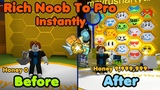 Rich Noob VS Bee Swarm Simulator! Noob To Pro Instantly! Make Millions Honey