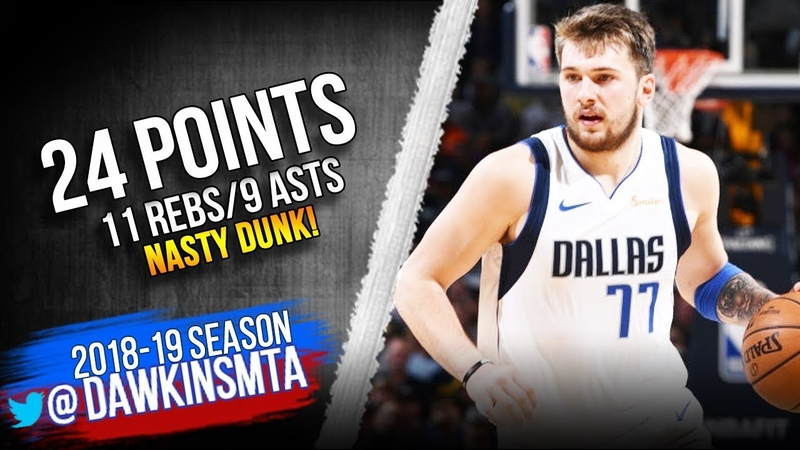 Luka Doncic Full Highlights 2019.03.14 Mavs vs Nuggets - 24-11-9, NASTY Dunk! | FreeDawkins