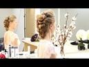 Вечерняя прическа на волосы средней длины. Греческая прическа. Объемная прическа.mp4