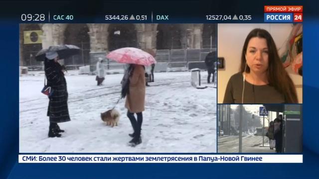 Новости на Россия 24 Сибирский циклон в Европе в Британии замерзло море у Колизея играют в снежки
