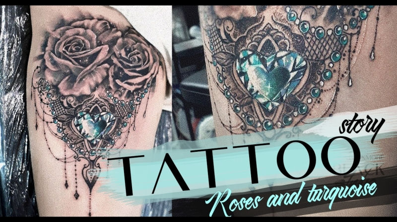 Tattoo story rose and turquoise