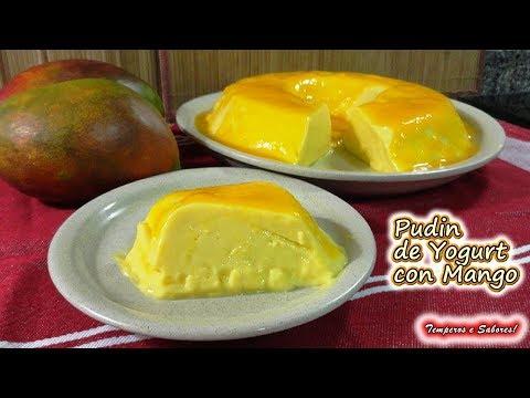 PUDIN DE YOGURT CON MANGO sin huevo, muy fácil y delicioso