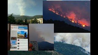 ялта 11 августа 2018. пожар в ущелье уч-кош начало в 18°° полыхает все.с днем города ялта