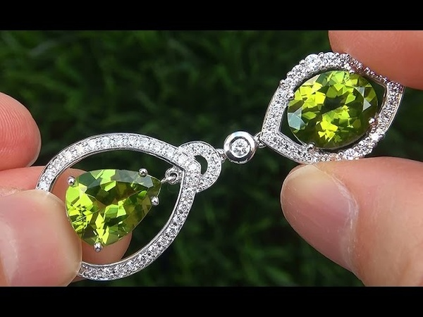 GIA Certified FLAWLESS Natural Peridot Diamond 18k White Gold Estate Earrings GEMS - A141645