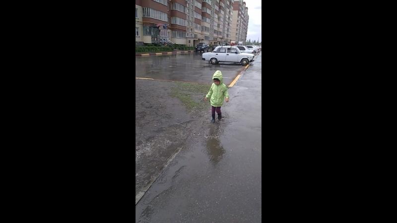 гуляем с мелкой под дождем