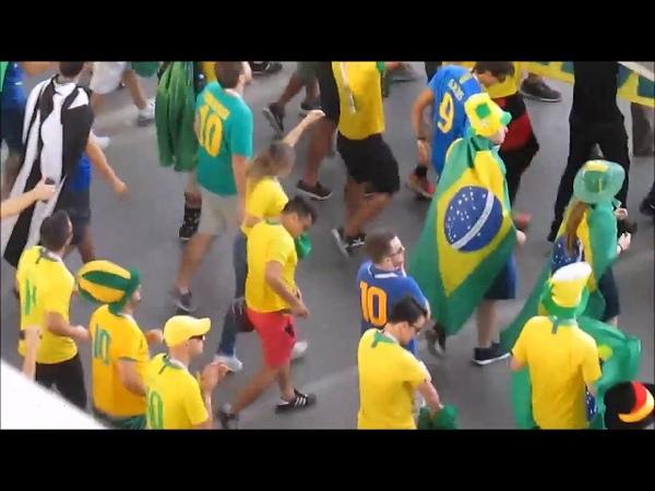 Ростов на Дону Чемпионам мира по футболу Бразилия Швейцария болельщики собираются на матч карнавал