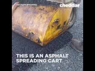 This is an asphalt spreading cart.