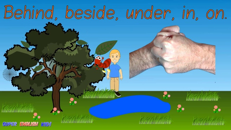 ♫The prepositions and insects outdoors song for kids ♫ behind beside under in on