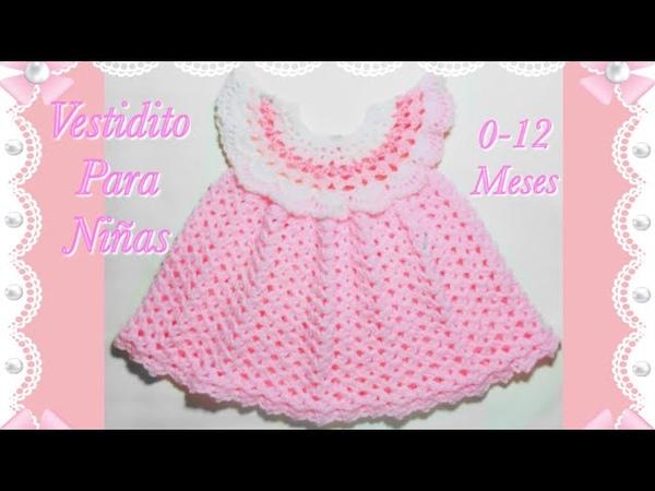 Como tejer un vestido Pinafore fácil y rápido para niñas en gancho 0-12 meses 131 -Crochet for Baby