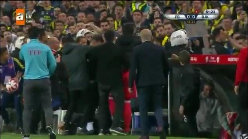 Матч «Фенербахче» — «Бешикташ» прерван, наставник гостей получил травму головы