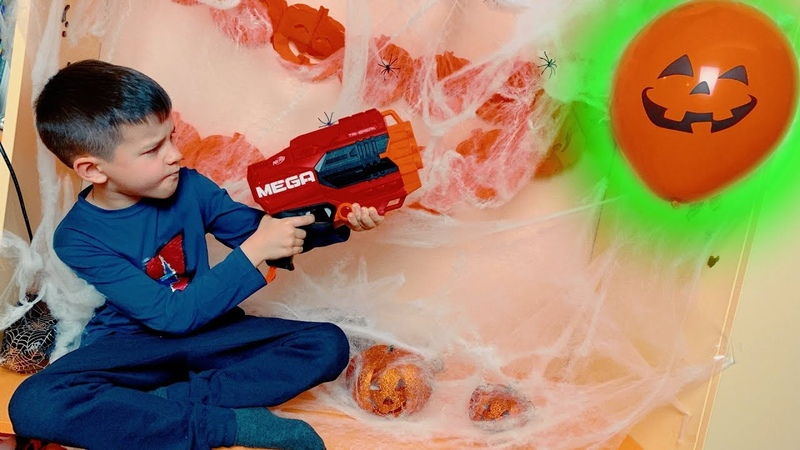 Den with Nerf vs colored balloons 6