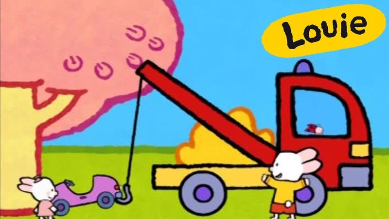 Grua - Louie dibujame una grua   Dibujos animados para niños