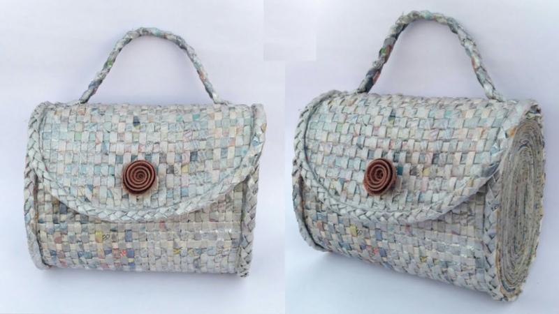 Newspaper handbag   Womens handbag   How to make a newspaper purse   Newspaper clutch   HMA189