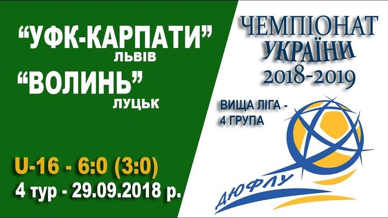 УФК Карпати Львів U 16 Волинь Луцьк U 16 6 0 3 0 Гра без пауз