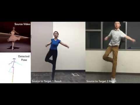 Нейросеть научили переносить движения людей между видеороликами