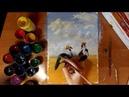 Рисуем Венценосных журавлей Гуашь