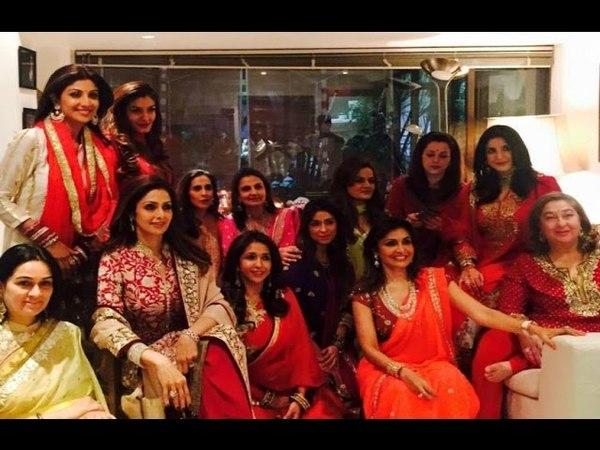 Sridevi, Shilpa Shetty Raveena Tandon At Karva Chauth Celebration 2015