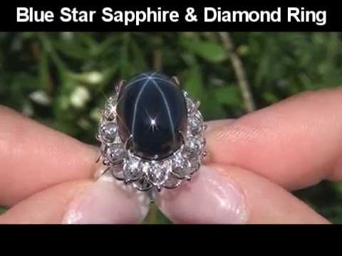 Extra Large Blue Star Sapphire VS Diamond Ring Set In Solid 14K White Gold