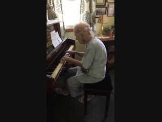 104 Years Old Music Teacher Playing Beethoven. Miss Ann