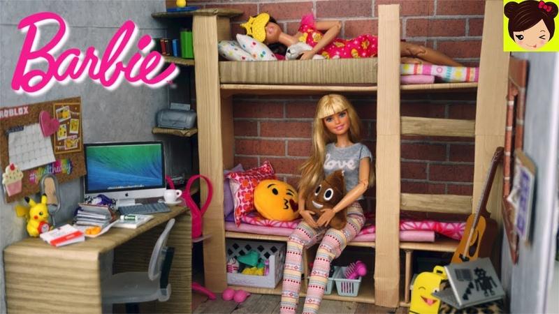 Barbie Rutina de La Mañana en Dormitorio de Escuela - Video Jugando con Muñecas
