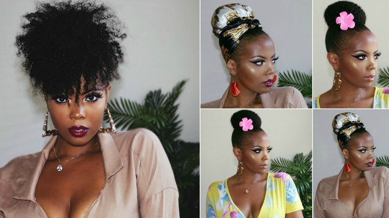 CANT BRAID!   5 QUICK EASY UPDO NATURAL HAIRSTYLES ON TYPE 4C HAIR   HERGIVENHAIR  TASTEPINK