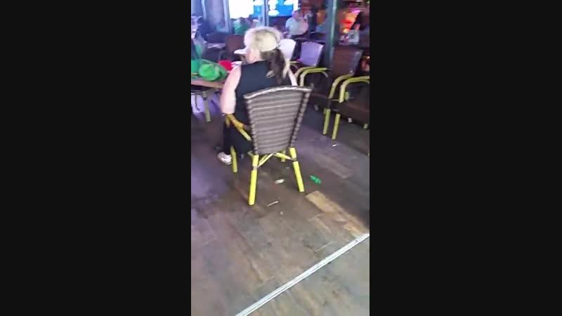 Woman peeing herself in Benidorm St Patricks Day 2018
