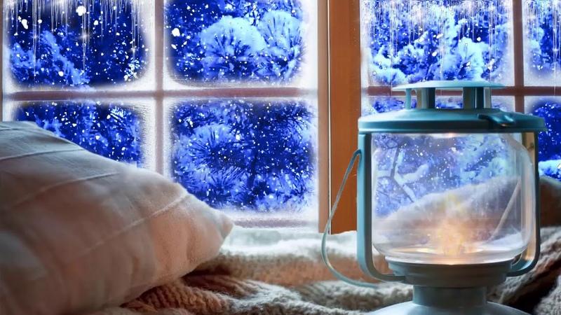 Расслабляющие звуки метели и камина. Падает снег за окном