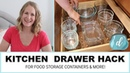 KITCHEN ORGANIZATION Drawer hack for food storage containers more