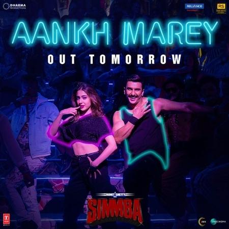 "Simmba on Instagram: ""AankhMarey out tomorrow... Stay tuned! @ranveersingh @saraalikhan95 @sonu_sood @itsrohitshetty @karanjohar @rohitshettypict..."