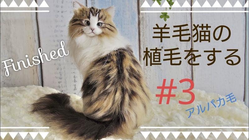 羊毛フェルト 猫を植毛する 3 クラシックタビー Classic Tabby How To Make Needlefelting Cat Doll Finished