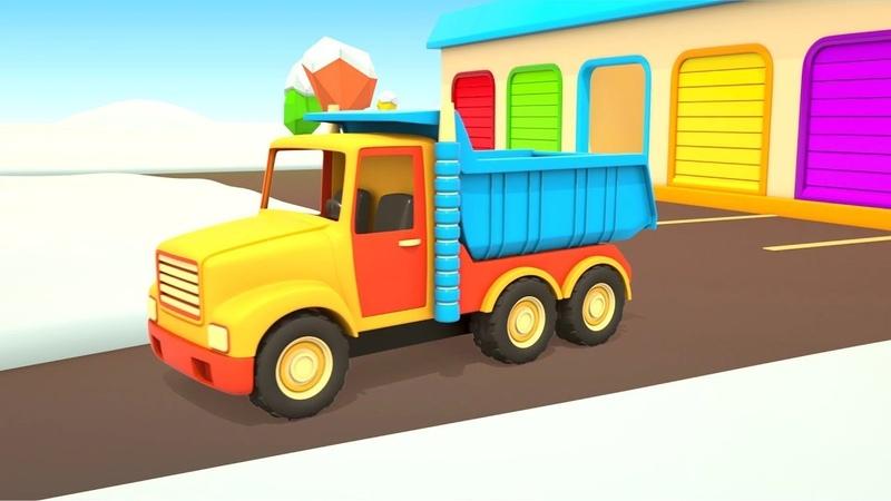 Vehículos de servicio despejan el camino. Dibujos animados de coches.
