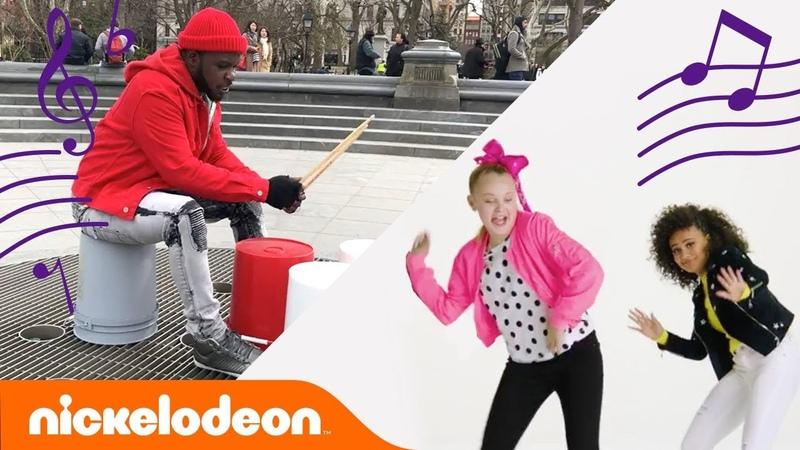 JoJo Siwa, Lizzy Greene More Dance to the Nick Theme 🎵Bucket Drum Style! | MusicMonday